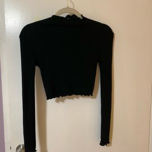 Black Cropped Long Sleeve Top